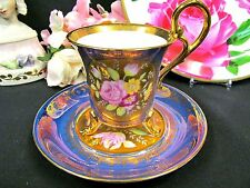 KPM TEA CUP AND SAUCER DEMI FOOTED PURPLE GOLD ROSE PAINTED TEACUP GERMAN