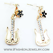 Cute Gold Tone Guitar Black Flower Drop Dangle Earrings Jewelry Gift Music Lover