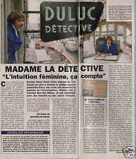 Coupure de presse Clipping 1996 Martine Baret  Détective   (1 page 1/3) Duluc