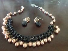 Talbots Pink/Black Collar Necklace And Earring Set