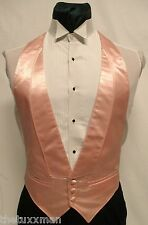 S Small Mens Coral/Peach Satin Open-Back/Backless Tuxedo Tux Vest Vintage Retro