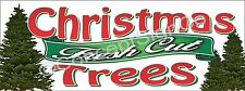 3'x8' FRESH CUT CHRISTMAS TREES BANNER Outdoor Sign LARGE Holiday Sales Xmas
