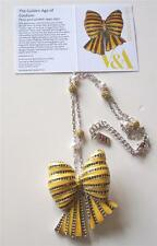 SALE * V&A - THE VICTORIA AND ALBERT MUSEUM, YELLOW ENAMEL BOW NECKLACE RRP £185