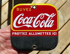 1930's French-Canadian Coca-Cola match striker porcelain sign Coke FREE SHIP!