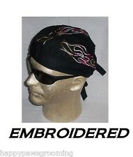 MULTI COLOR EMBROIDERED FLAMES FLAMING FITTED Bandana w/Ties Skull CAP DOO RAG