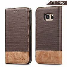 Samsung Galaxy S7 Edge Case Stand Shock Absorbing Soft Leather Wallet Card Hold