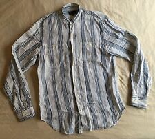 What Goes Around Comes Around SF Button Striped Linen Shirt Banded Collar RRL M