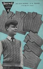 Vintage Knitting Pattern Boys Cable Vest/Tank Top/Sleeveless Sweater.4-16 Years