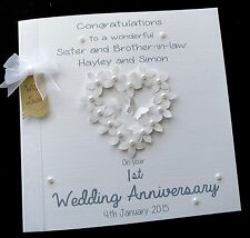 Large Personalised Wedding Anniversary Flowerheart Card 1st 2nd 3rd or Any Year