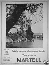 PUBLICITÉ 1934 MARTELL COGNAC TROIS ÉTOILES CORDON BLEU 35 ANS D'ÂGES