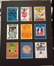 "NIRVANA KURT COBAIN 14"" BY 11"" RETRO TOUR POSTERS PIC MOUNTED READY TO FRAME"