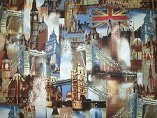 BRITISH LONDON CITY UK SITES BLUE COTTON FABRIC BTHY