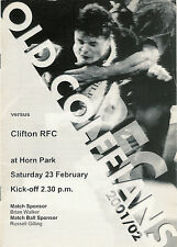 Old Colfeians v Clifton 23 Feb 2002 Old Colfeians  RUGBY PROGRAMME