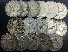 Canada 25 Cents Large Lot Of 17  Dates  All Silver 1938 to 1968
