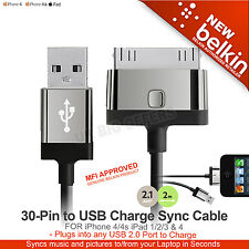Iphone 4/4s Ipad 1 2 3 & 4 30 Pines A Usb Carga Sync Cable Belkin f8j041cw2m-blk