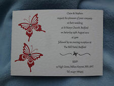 50 Mariposas hecho a mano las invitaciones de boda day/evening + Sobres