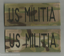 2 JUMBO MULTICAM US MILITIA  TAPES PATCHES  2 x 6 inches with HOOK FASTENER