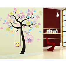 Owl Swing Flower Tree Wall Decal Removable Stickers Decor Art Nursery Baby New