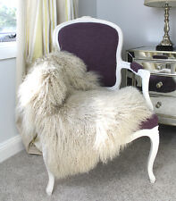 GENUINE LATTE BEIGE CREAM TIBETAN FUR MONGOLIAN SHEEPSKIN HIDE PELT RUG THROW