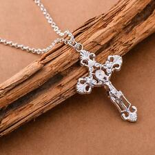 Fashion Unisex NF Plating 925 Silver Jesus Cross Necklace Pendant