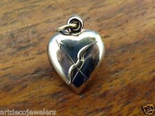 Vintage silver CUPID VALENTINE PUFFY PUFF HEART BOW & ARROW charm NEW STOCK #F