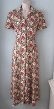 Vintage Maggy London Floral Print Long 100% Rayon Button Down Dress Women 8 M