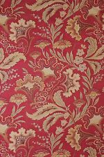 French Art Nouveau fabric material heavy red ground floral material w trim