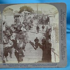 1900 Chinese Stereoview Camel Freight Train On Legation St Peking 北京 China 中国