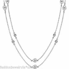 """36""""+3 Platinium Plated Clear Zirconia CZ by the Yard Necklace (15.4 Carat Total)"""
