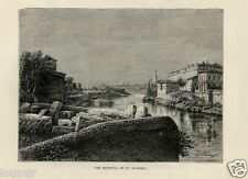 1875= ROMA = OSPEDALE SAN MICHELE = Rara Stampa Antica = Old Engraving