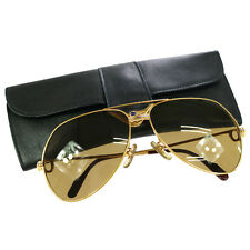 Authentic CARTIER Logos Reading Glasses Eye Wear Sunglasses Brown Gold V05301