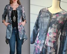 SIMPLY ASTER 1X Jacket HI LOW Duster Coat WATERCOLOR Floral Dressy 16 18 #bu