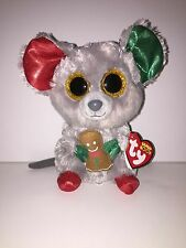 "TY MAC CHRISTMAS MOUSE 6"" BEANIE BOOS-NEW, MINT TAG *SUPER CUTE*IN HAND*SHIP NOW"