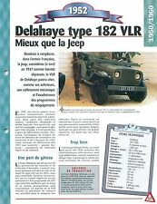 Delahaye type 182 VLR 1952 France Car Auto FICHE FRANCE