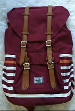 Herschel Backpack School back pack Bag Little America 23.5L-maroon/white stripes