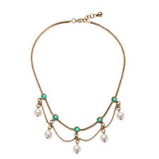 Fashion Emerald Green Stone with Faux Pearl Drop Statement Choker Necklace