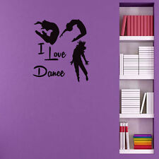 I Love Dance Wall Stickers Vinyl Removable Home Decor DIY Three Dancers Decals