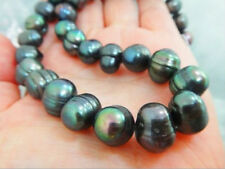 "Genuine natural 18"" 10-12mm black tahitian pearl necklace 14k yellow gold clasp"