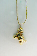 """14k Yellow Gold Man made Nugget Pendant & Herringbone 18""""L Italy Necklace 5.9g"""