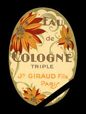 French Vintage Perfume Soap Label: Art Deco Cologne J. Giraud Fils, Paris
