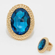 Statement HUGE Blue Zircon Crystal Stretch Gold Cocktail Ring By Rocks Boutique