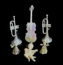 Lot of 6 Plastic Pearlesque Musical Instrument & Angels Christmas Ornaments #57