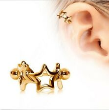 Gold Plated Surgical Steel Earring Interlocked Stars Cartilage Cuff 16G