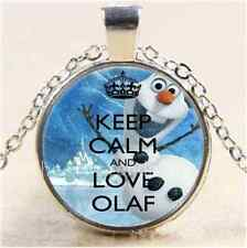 Keep Calm And Love Olaf Cabochon Glass Tibet Silver Chain Pendant Necklace#6275