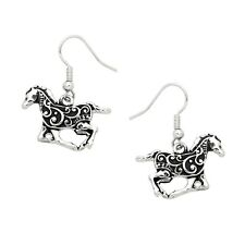 Running Horse Fashionable Earrings - Vine Filigree - Fish Hook - Silver Plated
