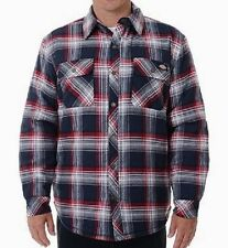 Dickies Jackets Mens Sherpa Lined Flannel Snap Front Overshirt 7062 Plaid 2XL