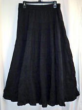 Travelsmith Black 100% Cotton Very Full Long Boho Maxi Skirt Elastic Waist M