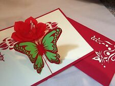 POP UP card - flower & butterfly (birthday, thank you, blank)