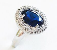 USA RING using Swarovski Crystal Silver Size 18K Gold plated Blue Round