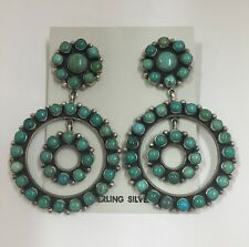Native American Sterling Silver Navajo Mixed Turquoise Earrings